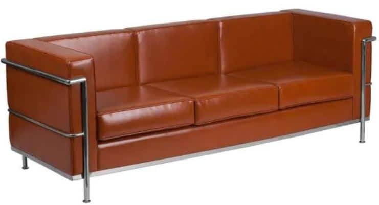 This is the Flash Furniture 79 in Cognac Faux Leather 4-Seater Bridgewater Sofa from Home Depot.