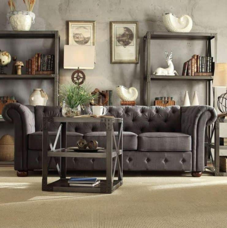 This is the HomeSullivan Radcliffe 91 in. Dark Grey Linen 4-Seater Cabriole Sofa from Home Depot.