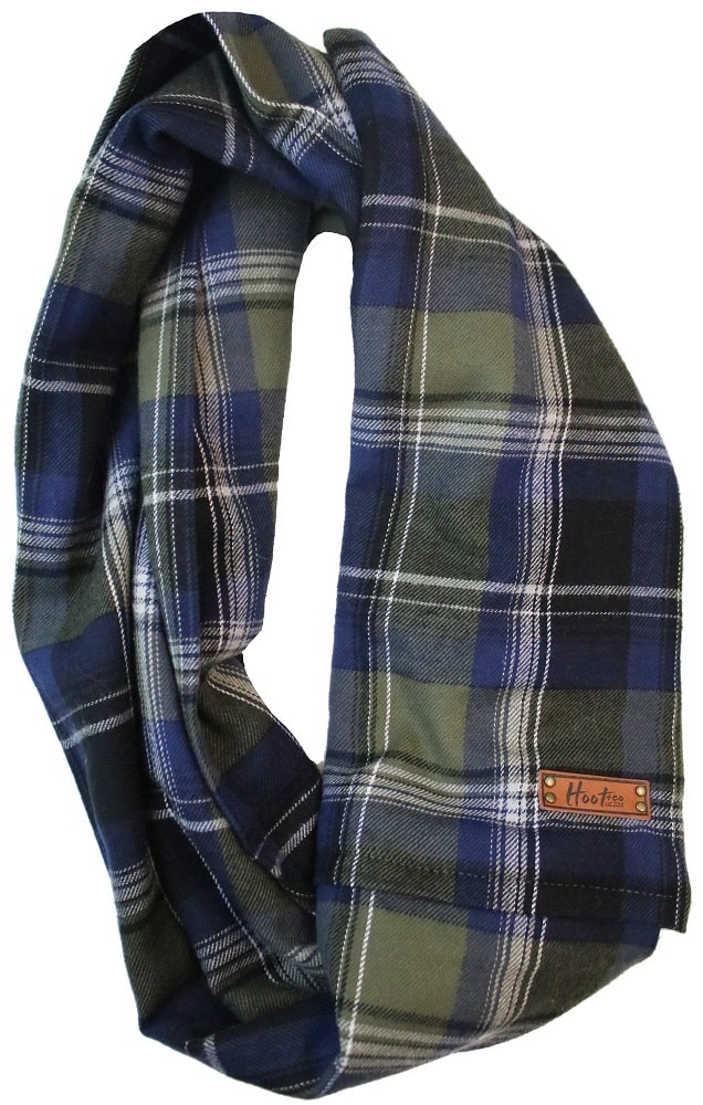 This is the Aspen Flannel Infinity Scarf by Hoot and Co.