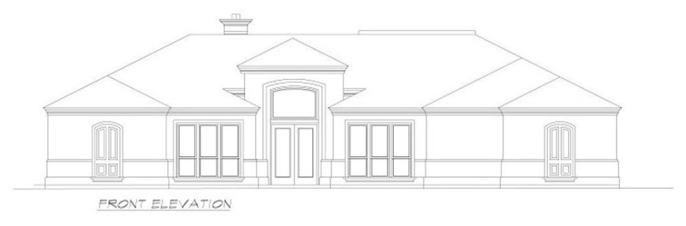 Front elevation sketch of the 3-bedroom Mediterranean-style single-story ranch.