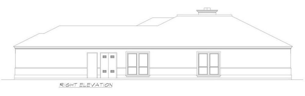 Right elevation sketch of the 3-bedroom Mediterranean-style single-story ranch.