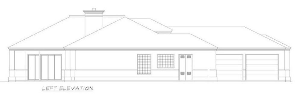Left elevation sketch of the 3-bedroom Mediterranean-style single-story ranch.