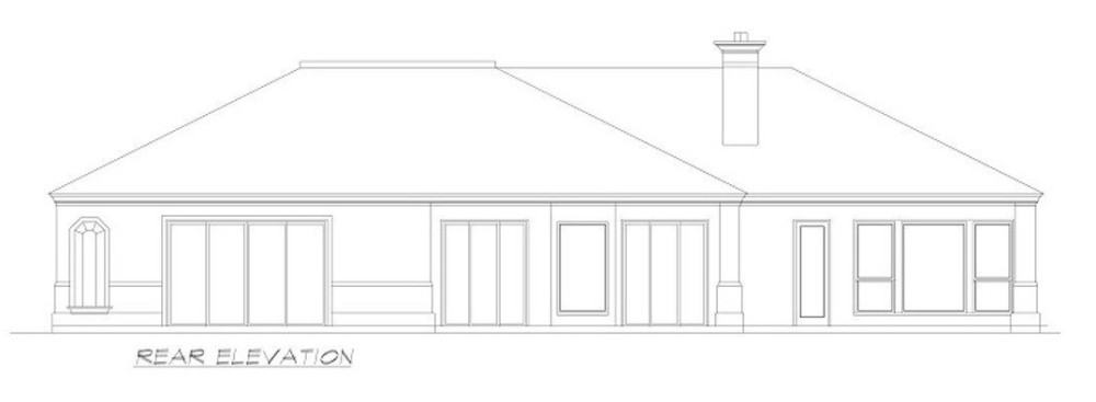 Rear elevation sketch of the 3-bedroom Mediterranean-style single-story ranch.