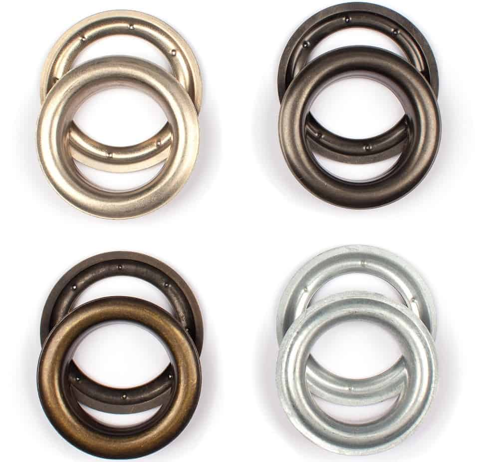 These are various brass curtain eyelet rings in different tones.