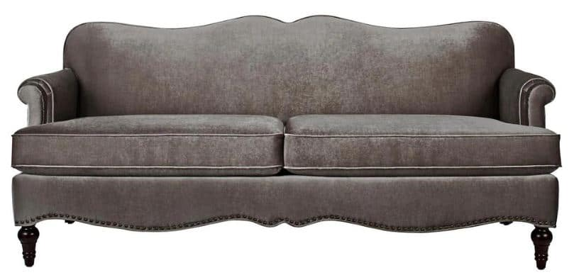 This is the Jennifer Taylor Legacy 81 in Grey Velvet 3-Seater Cabriole Sofa from Home Depot.