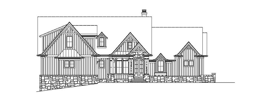 Front elevation sketch of the 4-bedroom cottage-style two-story home.