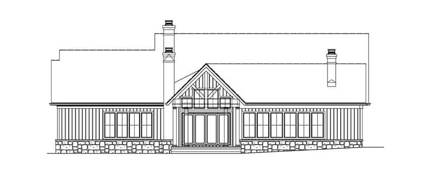 Rear elevation sketch of the 4-bedroom cottage-style two-story home.