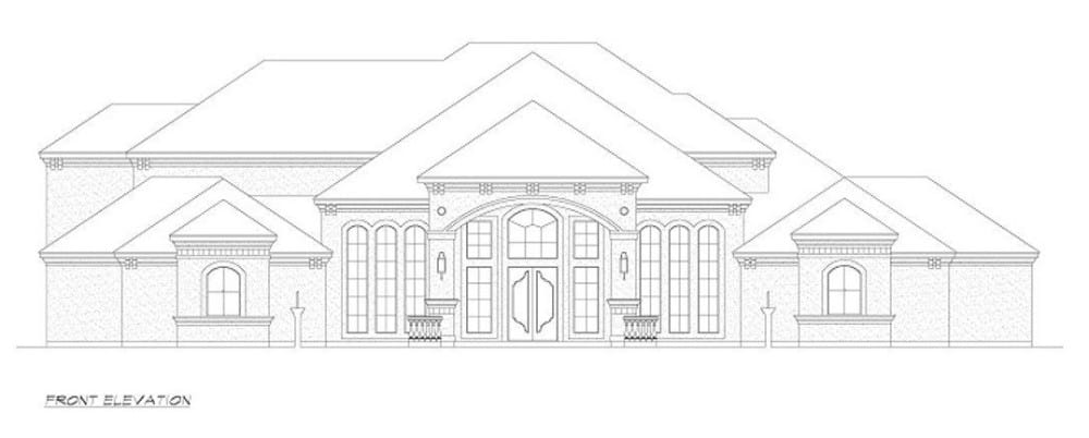 Front elevation sketch of the 4-bedroom two-story European style home.
