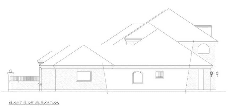 Right elevation sketch of the 4-bedroom two-story European style home.