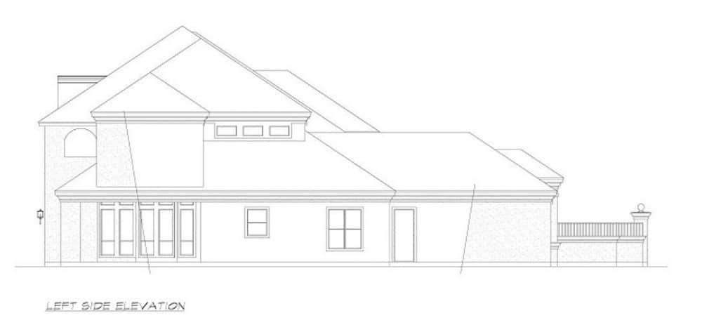 Left elevation sketch of the 4-bedroom two-story European style home.