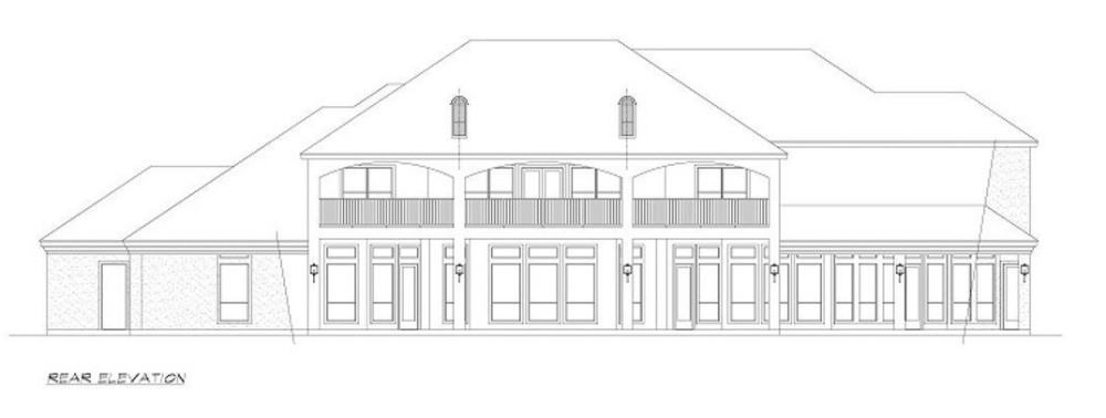 Rear elevation sketch of the 4-bedroom two-story European style home.