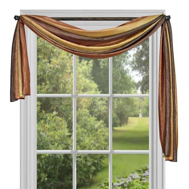 The Striped Semi-Sheer Window Scarf by Lark Manor from Wayfair.