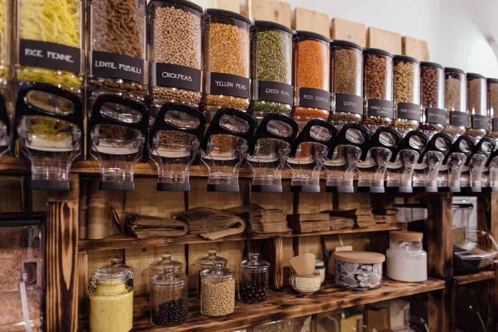 This is a look at the shelf filled with dried goods on display at the store.