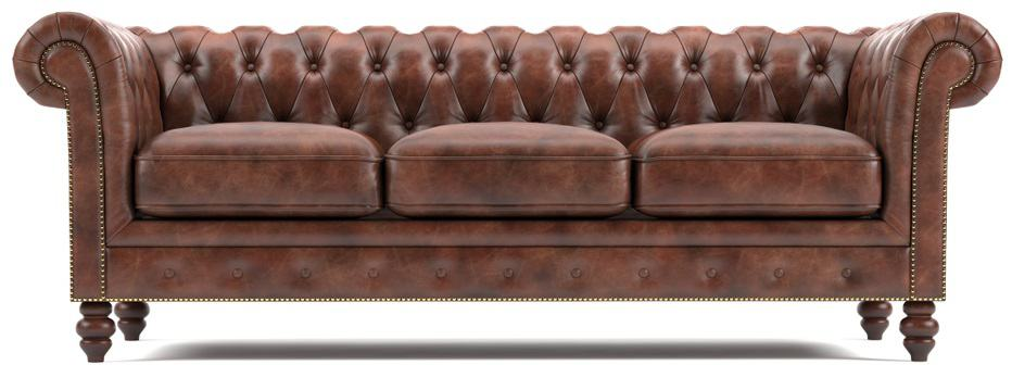 This is a three-seat brown leather chesterfield sofa.