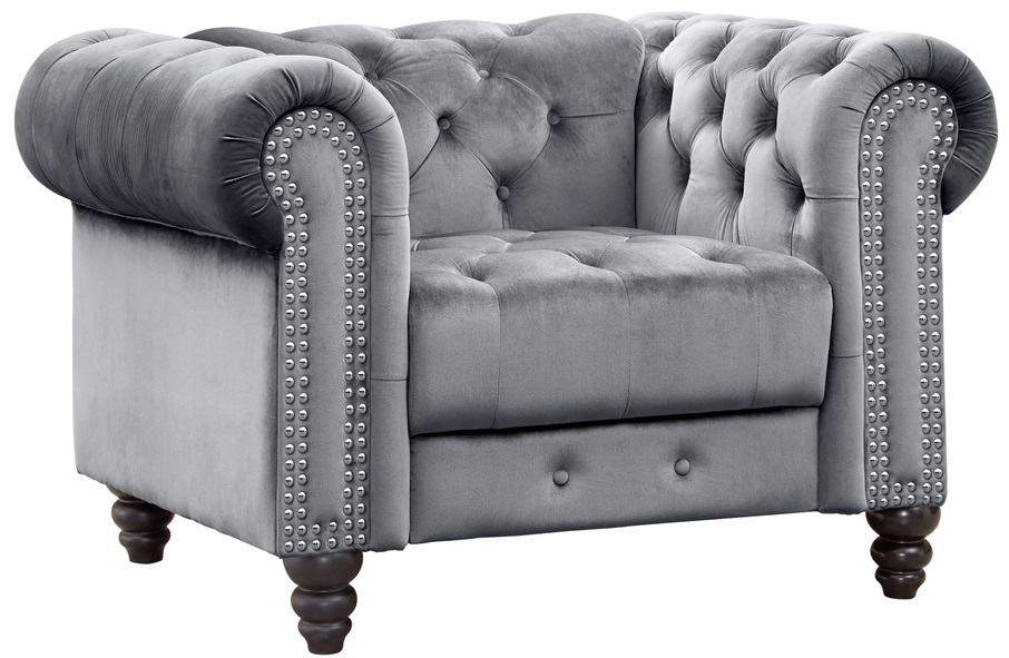 This is a gray tufted chesterfield club chair.
