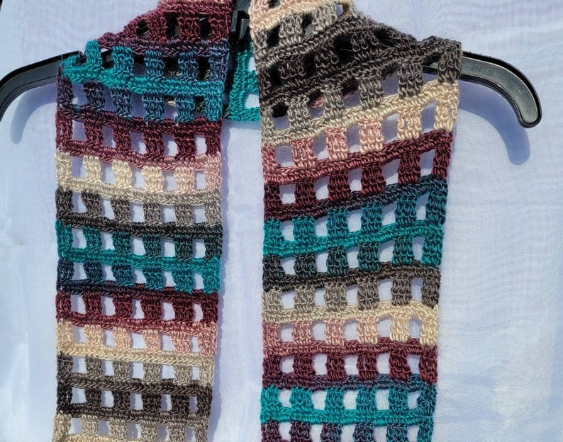 The Windowpane scarf by CraftingFurMama from Etsy.