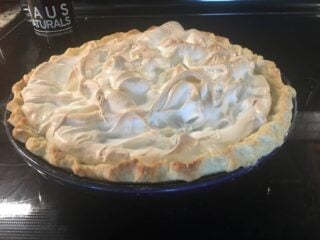 This is a freshly baked lemon meringue pie from the oven.