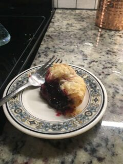This is a slice of the puff pastry casserole from the blueberry side of the two halves.