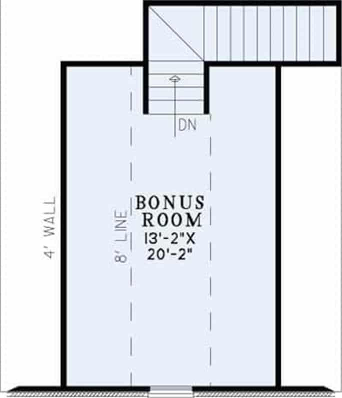 Bonus room floor plan with sloped ceiling and a staircase leading down the main floor.