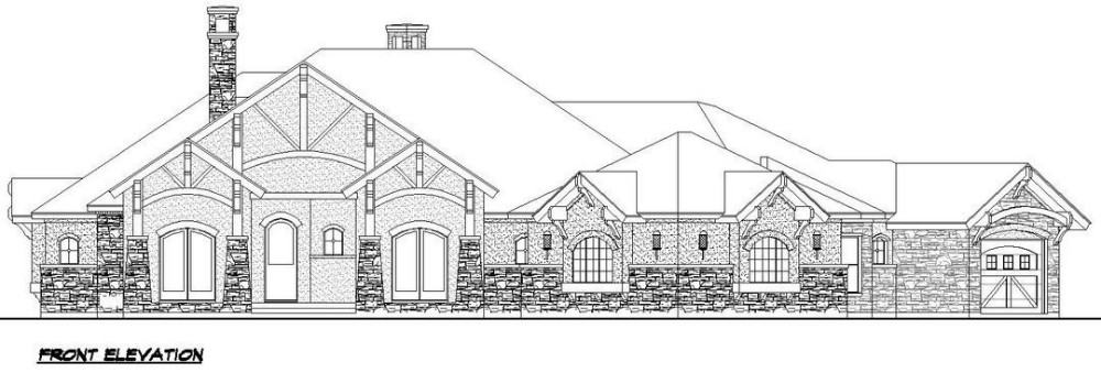 Front elevation sketch of the contemporary single-story 4-bedroom Southwestern home.