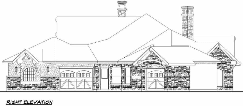 Right elevation sketch of the contemporary single-story 4-bedroom Southwestern home.