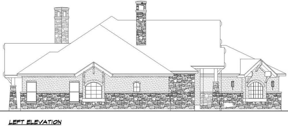 Left elevation sketch of the contemporary single-story 4-bedroom Southwestern home.