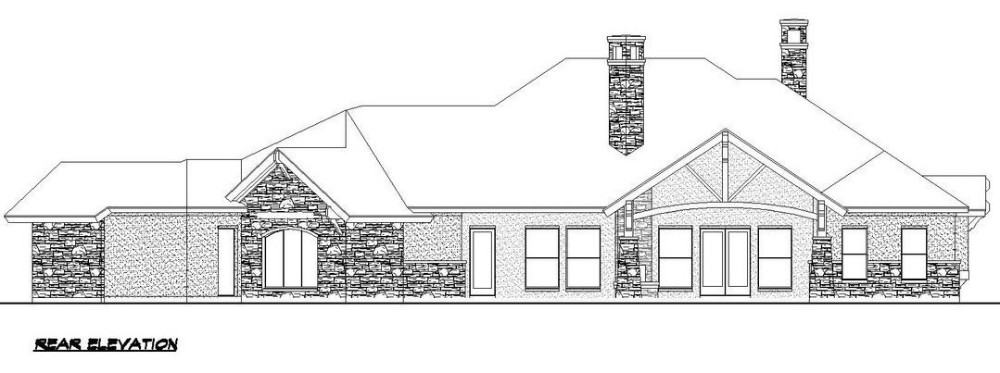 Rear elevation sketch of the contemporary single-story 4-bedroom Southwestern home.