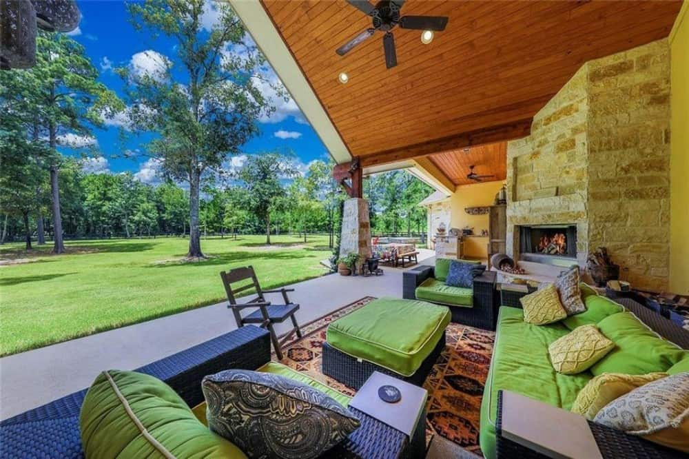 The outdoor lounge and cooking patio offers a great place to relax. It boasts an impressive view of the serene surrounding.