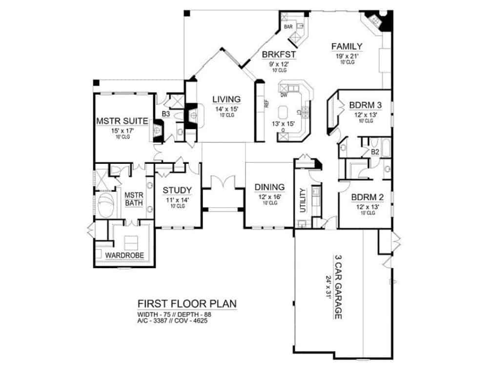 Main level floor plan of a 3-bedroom Mediterranean-style single-story ranch with living room, formal dining room, family room, kitchen, breakfast area, utility room, study, and courtyard entry garage.