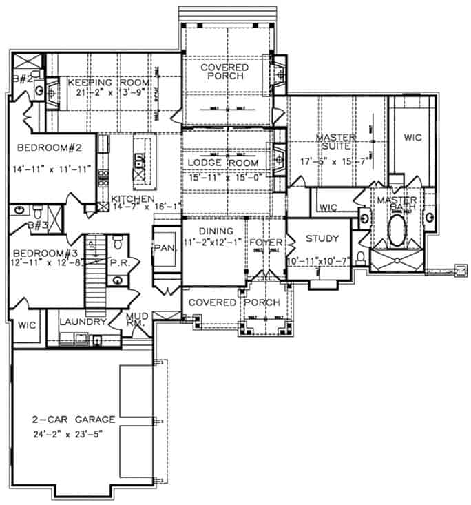 Main level floor plan of a 4-bedroom cottage-style two-story home with foyer, formal dining room, study, lodge room, kitchen, keeping room, laundry, and three bedrooms including the primary suite.