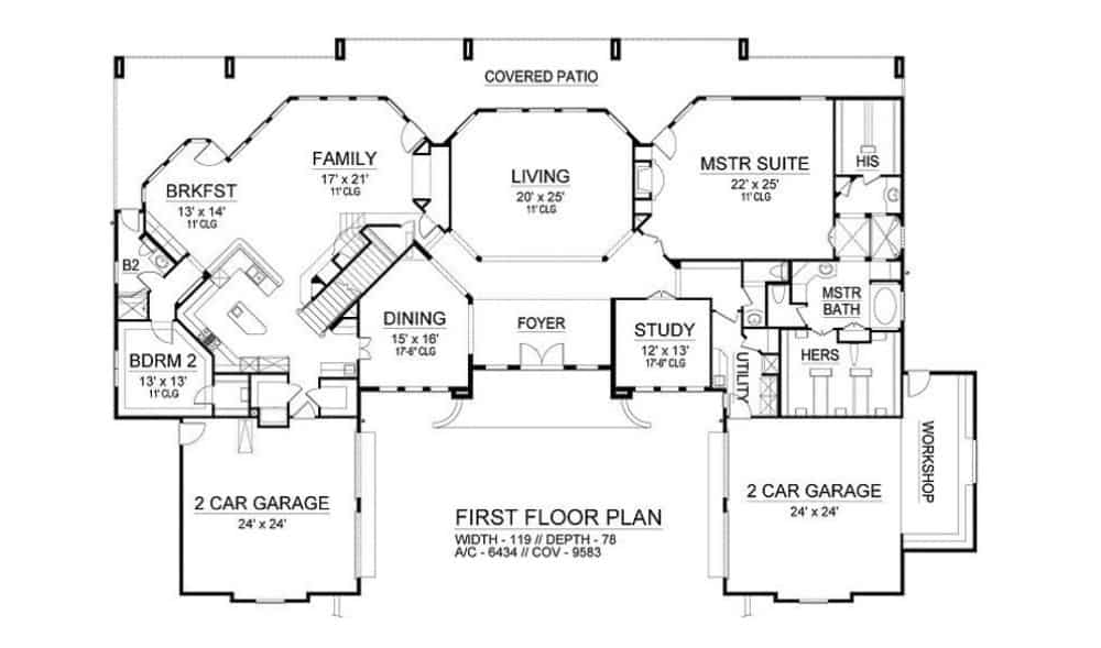 Main level floor plan of a 4-bedroom two-story European style home with foyer, living room, formal dining room, study, family room, kitchen, breakfast nook, two bedrooms including the primary suite, and expansive outdoor space.