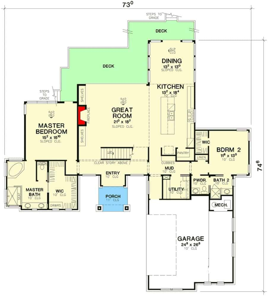 Main level floor plan of a modern 3-bedroom two-story home with foyer, great room, kitchen, dining area, utility, and two bedrooms including the primary bedroom.