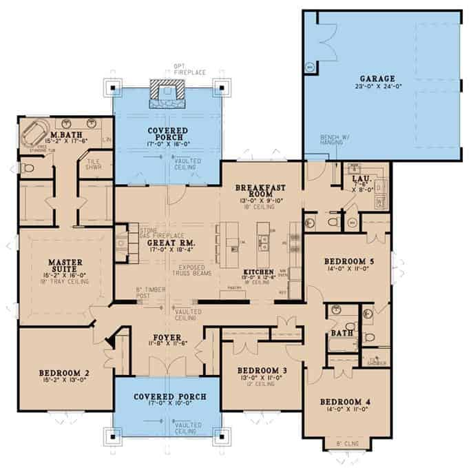 Main level floor plan of a single-story 5-bedroom rustic ranch with front and rear porches, foyer, great room, kitchen, breakfast room, laundry room, and a mudroom leading to the rear garage.