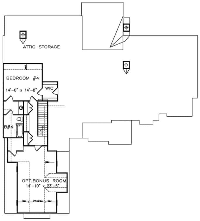 Second level floor plan with a bedroom suite and a bonus room above the garage.