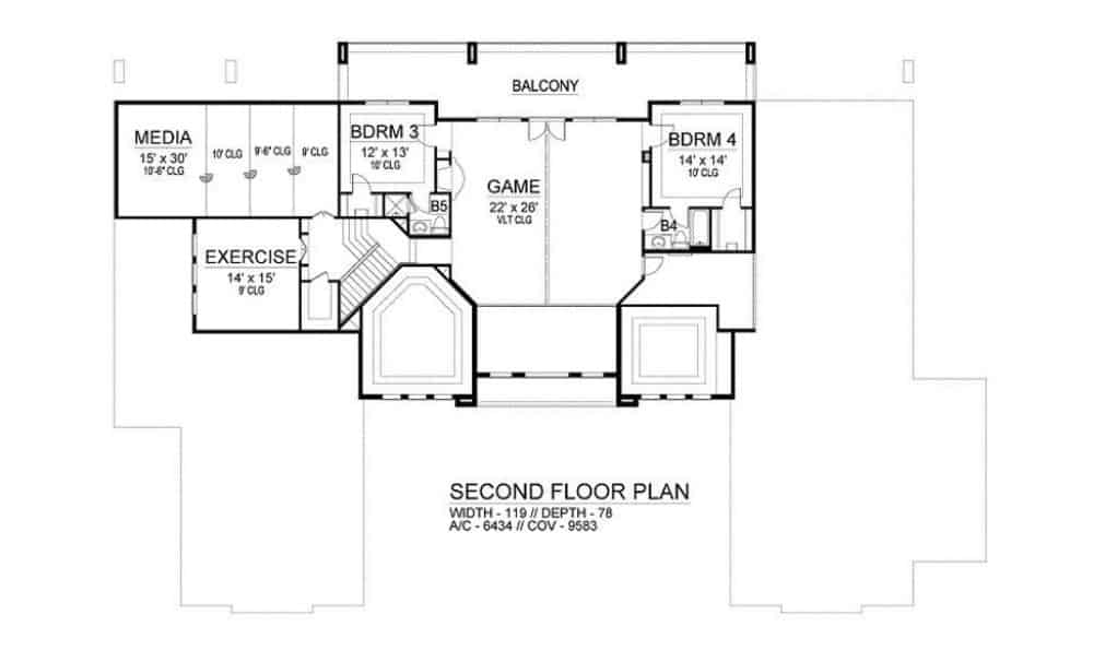 Second level floor plan with two bedrooms, media room, exercise room, and a game room with large balcony.
