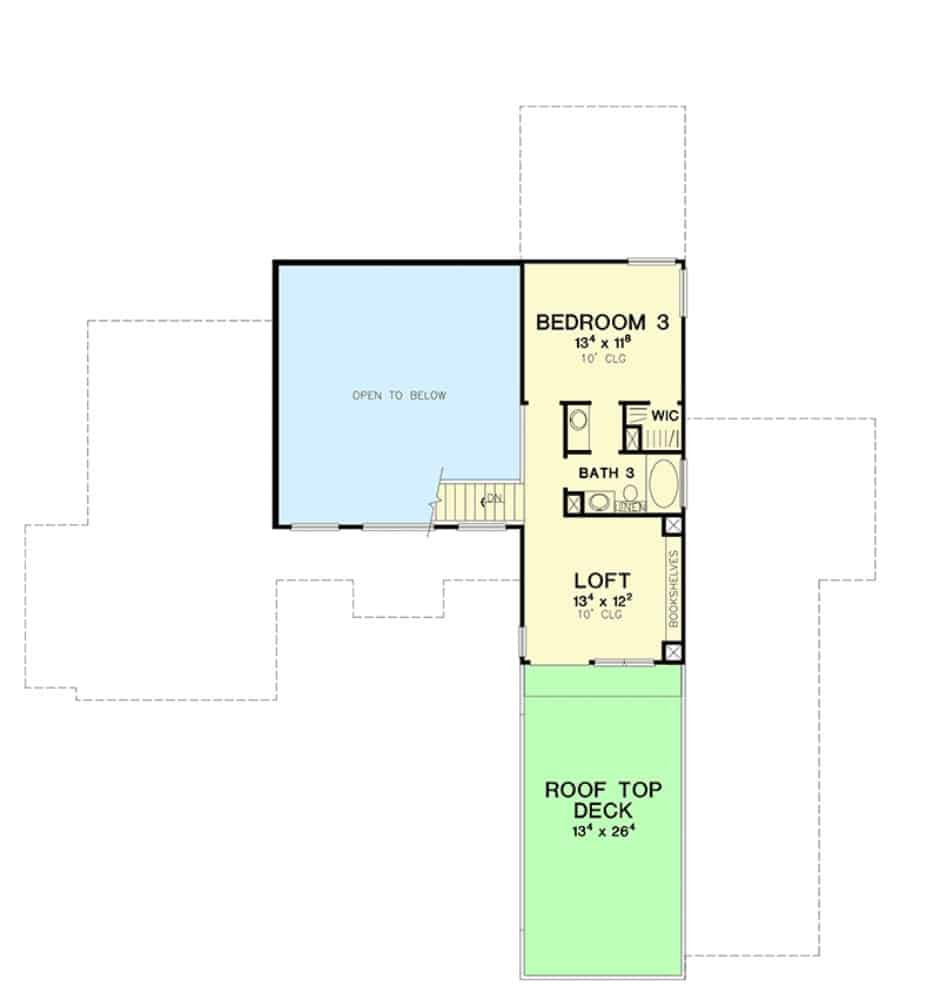 Second level floor plan with a bedroom, a full bath, and a loft leading to the rooftop deck.