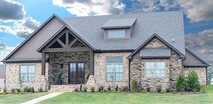 Single-Story 5-Bedroom Rustic Ranch for a Corner Lot with Open Floor Plan and Rear Double Garage