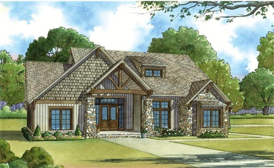 Front perspective sketch of the single-story 5-bedroom rustic ranch.