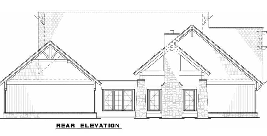 Rear elevation sketch of the single-story 5-bedroom rustic ranch.