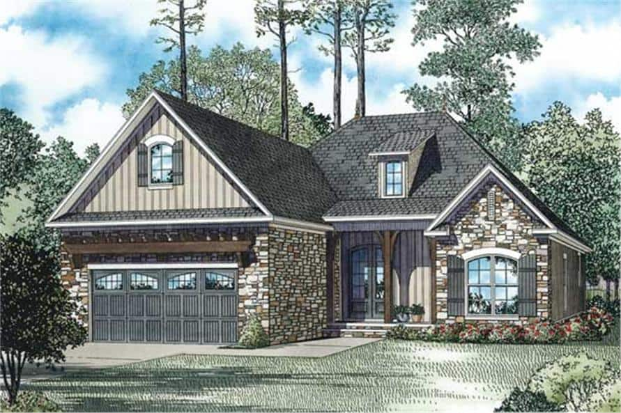 Front rendering of the two-story country style 3-bedroom home.
