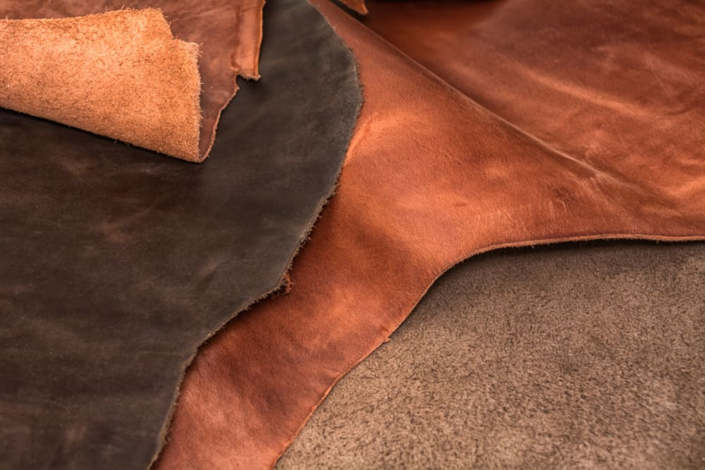 These are pieces of leather material with a darker shade above.