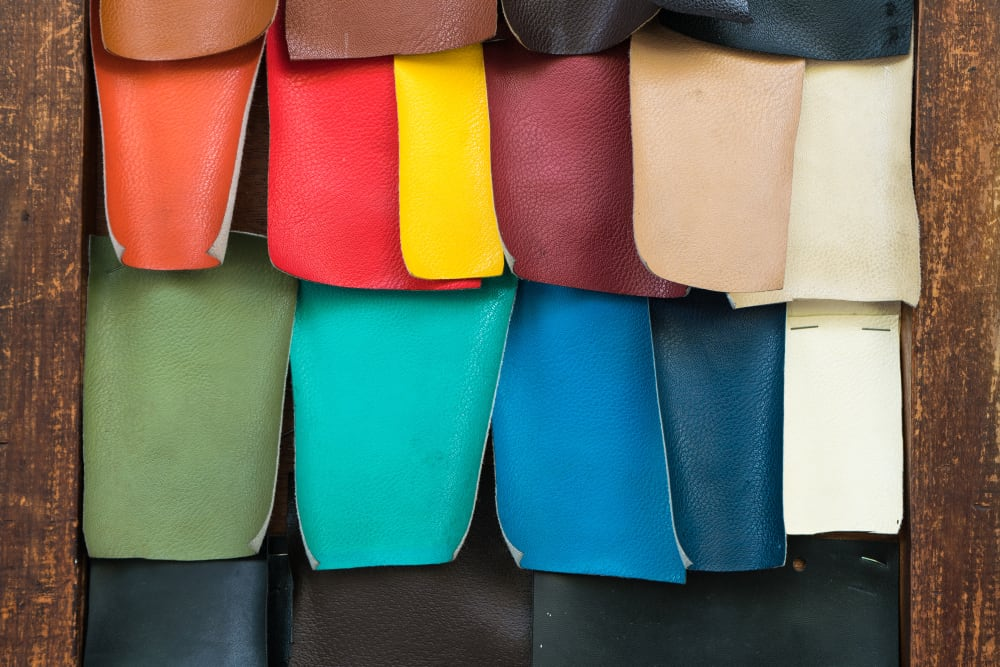 This is a close look at various colorful faux leather sample swatches.