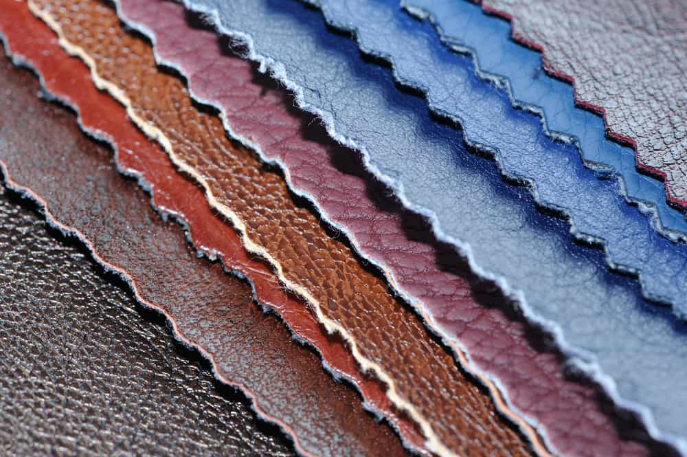 This is a close look at various faux leather samples in various colors.
